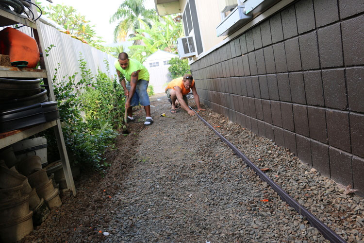 Install trim before laying in the new Sod Grass.